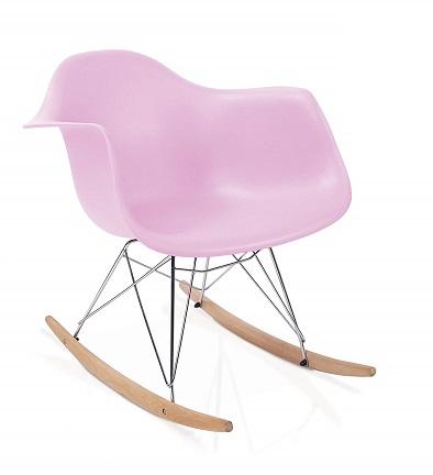 silla eames mecedora rosa