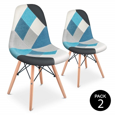 silla eames patchwork azul