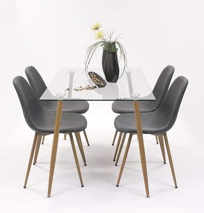 silla nordica gris tapizada